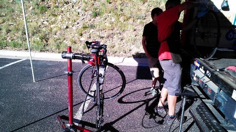 Another flat tire! At least the puncture was small enough that I could make it to the Bike Pro-Mobile Rest Stop 2.
