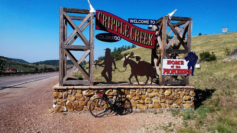 The Super Bike makes it to Cripple Creek.