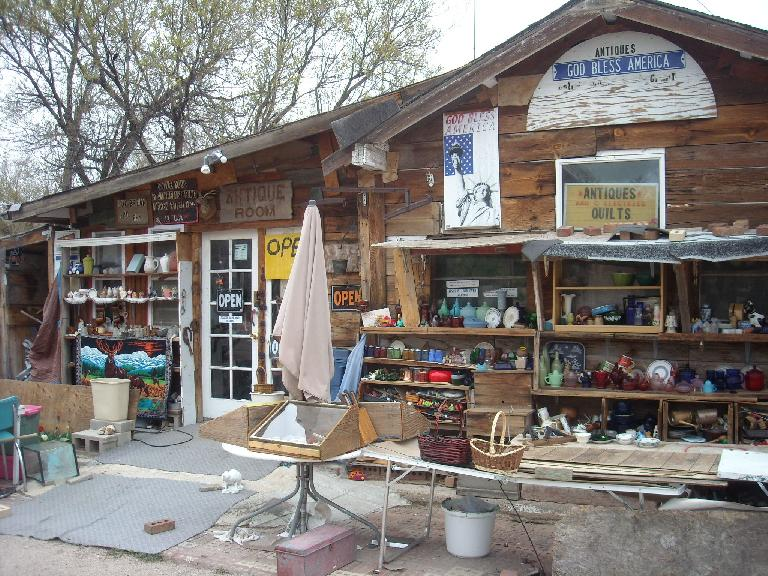 [Mile 40, 10:20 a.m.] This antique shop in the middle of nowhere would prove critical to my ride.