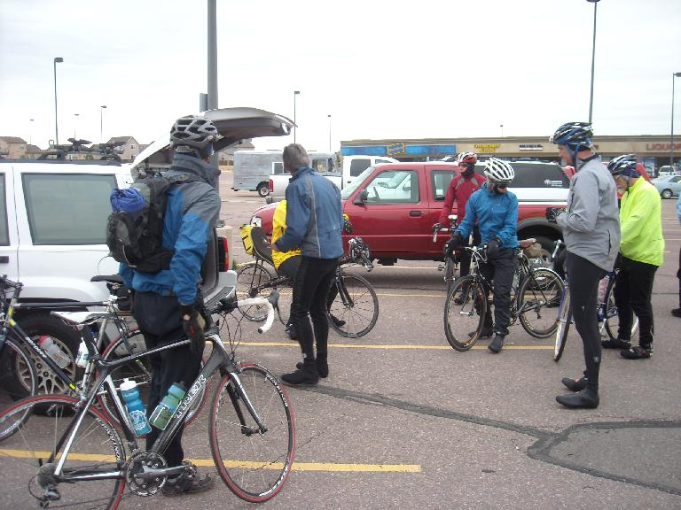 Riders at the start.  There were seven or eight of us.