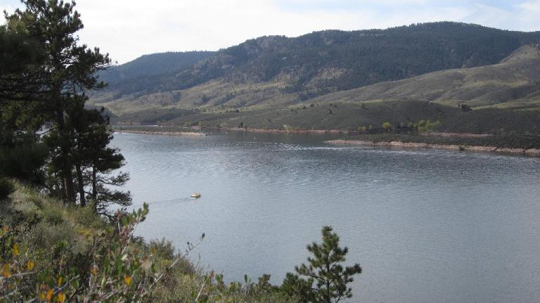 Horsetooth Reservoir with Lory State Park in the background.