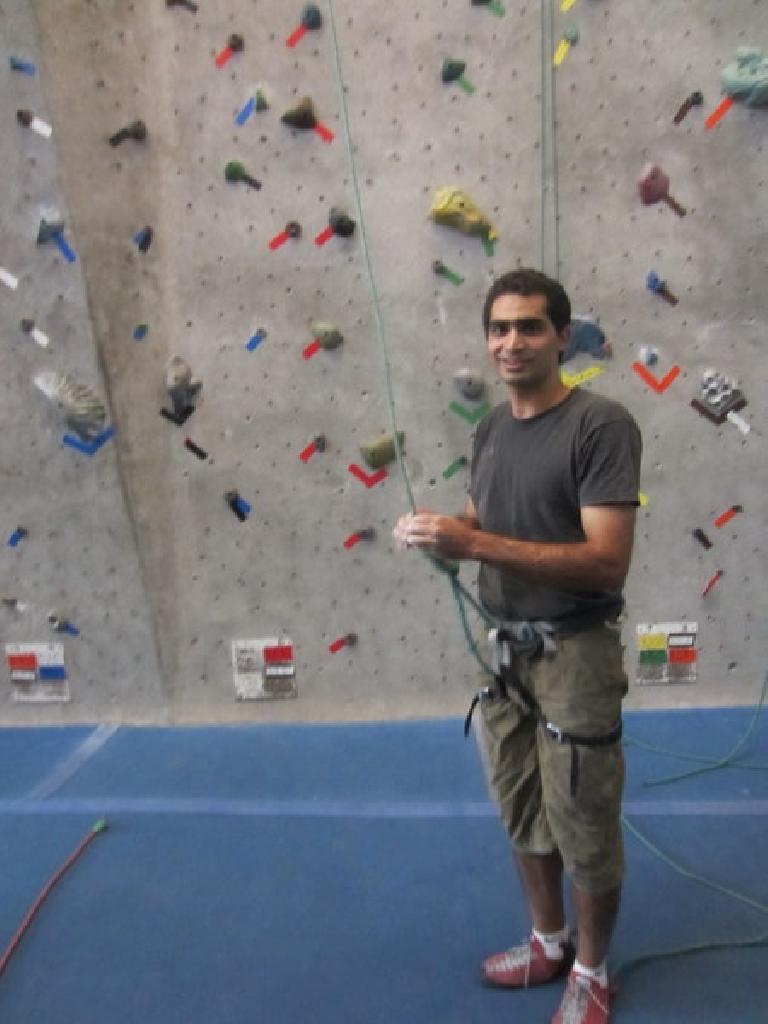 Mehdi about to climb inside the Inner Strength rock gym.  This was the last time I'd got to climb with him indoors. (September 7, 2010)