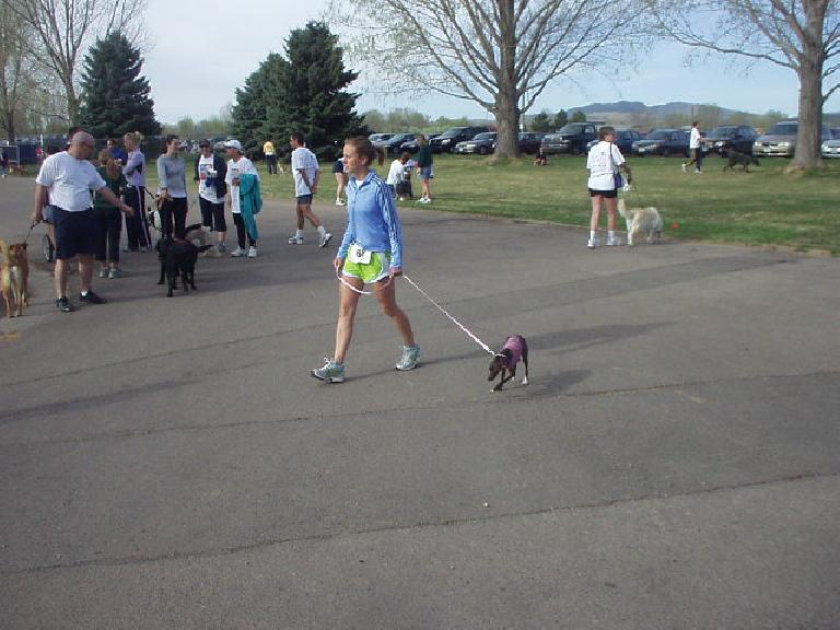A runner and her little greyhound which was fast!