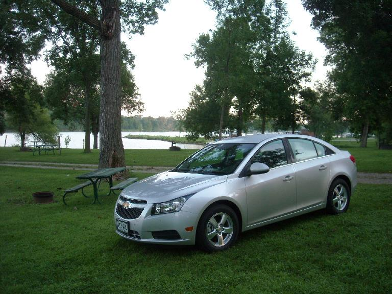 I was really impressed by my Chevrolet Cruze rental car, which was very Audi-like and high quality both on the inside and out.  Here it is at Rock Creek State Park, Iowa. (August 8, 2011)