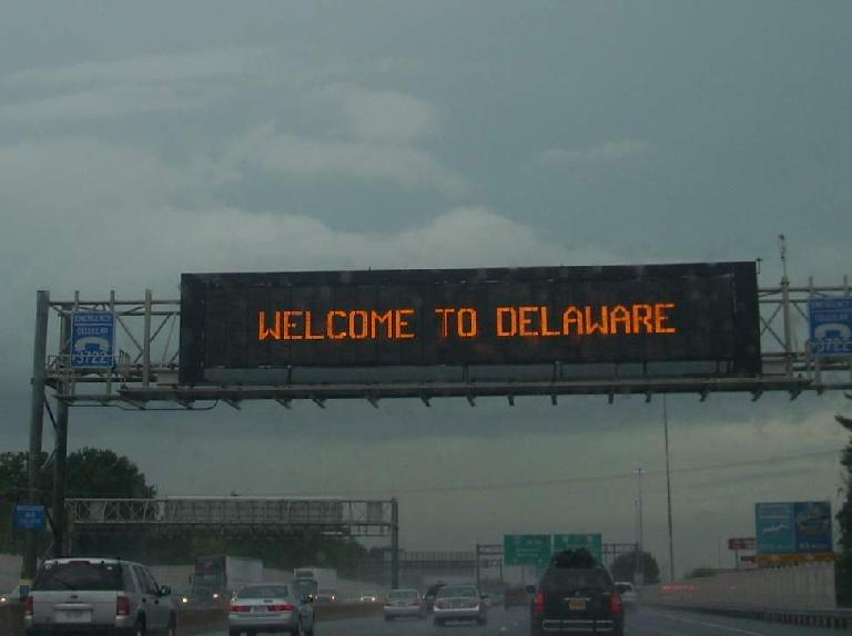 Driving from Connecticut to Washington, D.C. took almost 10 hours due to bad traffic and rain.  Here's traffic in Delaware... (August 15, 2011)