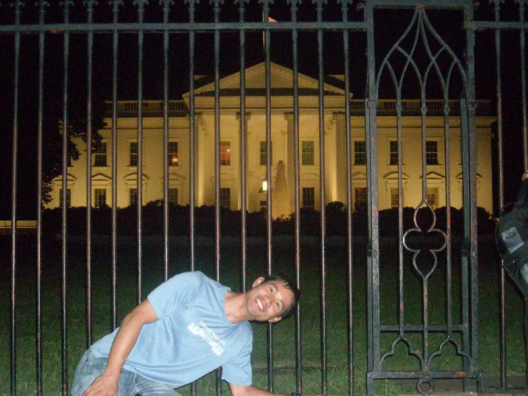 Me in front of the White House.  President Obama was on a Midwest tour so was not home. (August 15, 2011)