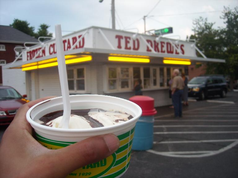 A Ted Drewes' Frozen Custard stand (another recommendation by Alyssa), a St. Louis classic.  I had their Daily Special, a hot fudge sundae for $2.50. (August 17, 2011)