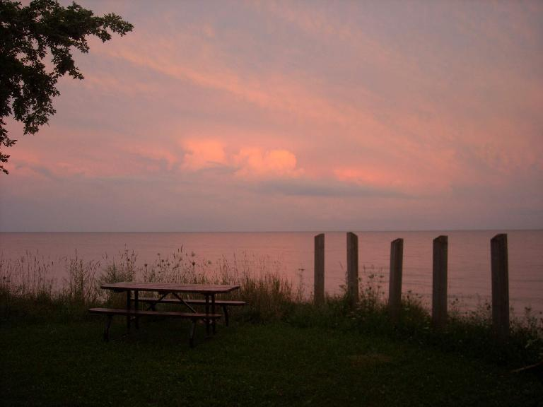 I watched a nice sunset at Wheatley Provincial Park, Ontario by Lake Erie---one of the Great Lakes. (August 9, 2011)