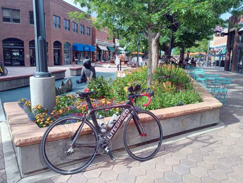My black 2010 Litespeed Archon C2 at Old Town Square in downtown Fort Collins.