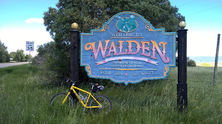 My yellow 1996 Cannondale F700 mountain bike in Walden, Colorado.