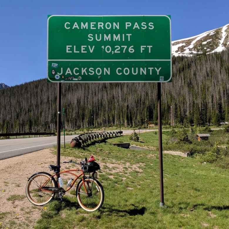 bronze Huffy Cranbrook Cruiser, Cameron Pass Summit, elevation 10276 feet