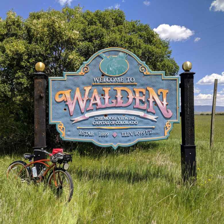 bronze Huffy Cranbrook Cruiser in front of Walden sign in Colorado