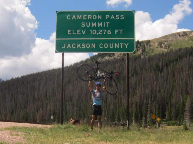 [Mile 70, 11:15 A.M.] Made it to the top of Cameron Pass, elevation 10,276 feet.