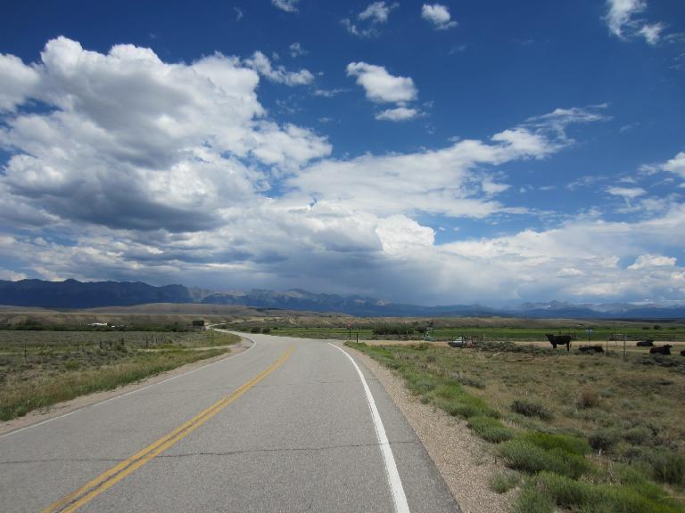[Mile ~110] Approaching the mountains of the Poudre Canyon.