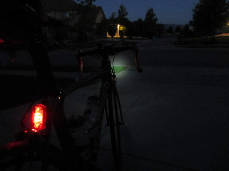 [Mile 0, 5:07 A.M.] Leaving my house at dusk on the Super Bike.