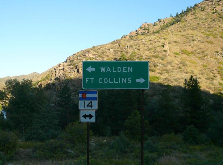 [Mile 27, 7:33 a.m.] Signage to Walden and Fort Collins.