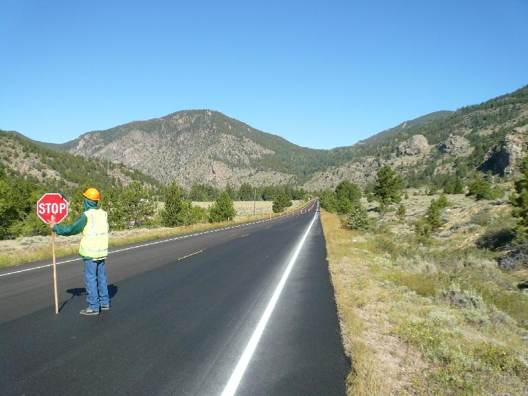 [Mile 50, 9:33 a.m.] Road construction in the Poudre Canyon required me to stop for a dozen minutes.