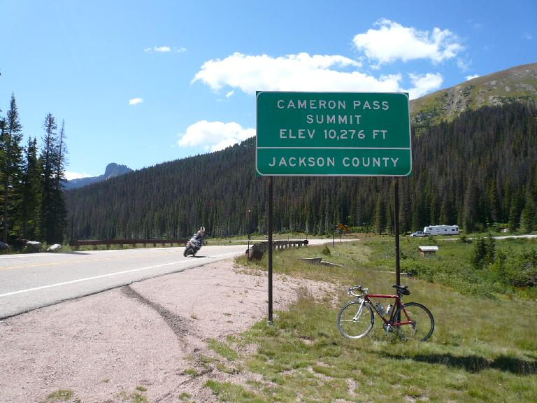 [Mile 71, 11:35a] Finally, the top of Cameron Pass after climbing virtually all morning.