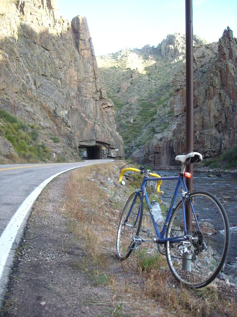 The Gitane next to the Poudre River and in front of the tunnel not far from the Mishiwaka Amphitheater.