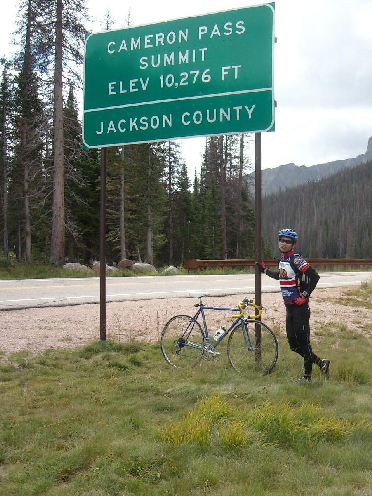 [Mile 72] Cameron Pass Summit: elevation 10,276 feet.