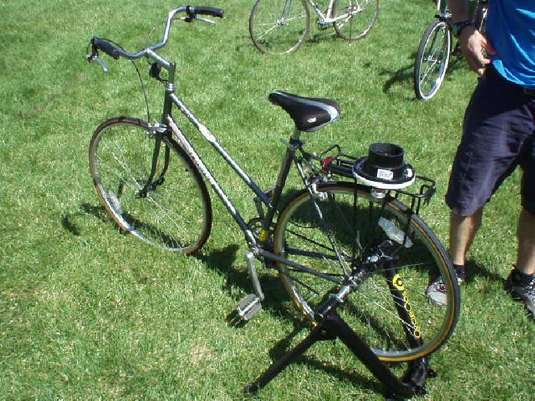 I got to ride this bike with a bicycle blender to make some smoothies.  How ingenious.