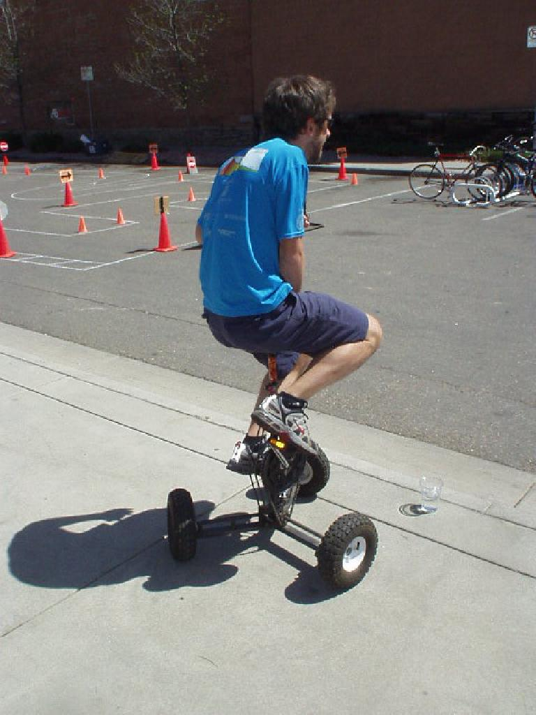 Nick trying out a bike (trike?) that went in circles.