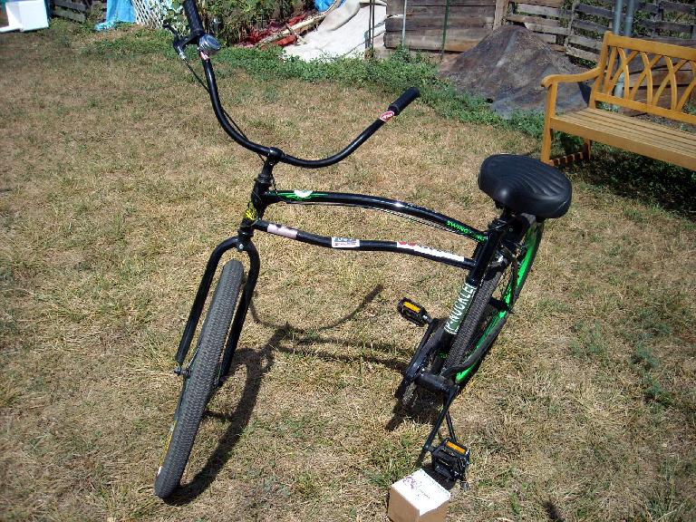A folding bicycle.