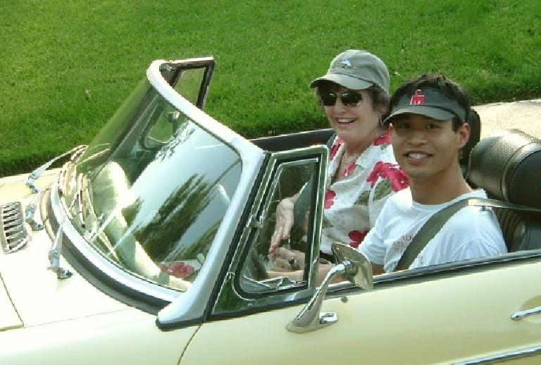 In July I went on a garden walk with Stan and his friends.  His friend Arlene from CA wanted to ride in the MG and of course I was happy to oblige. Photo: Stan Wolf.