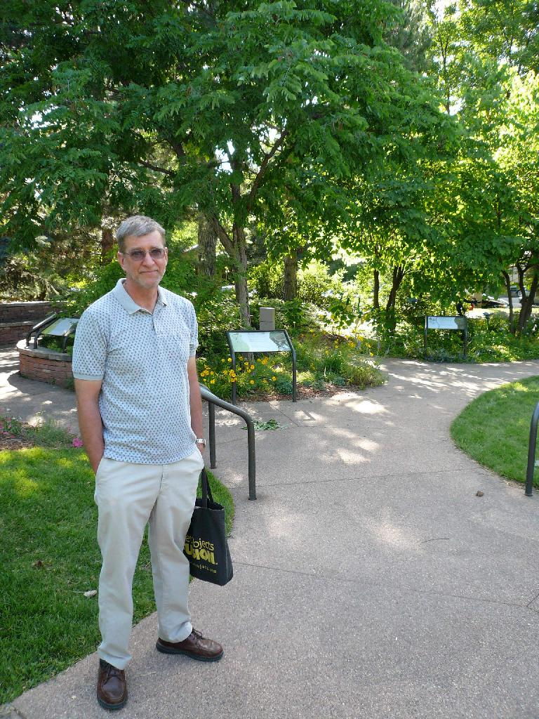 In June I went to visit the gardens in front of City Hall to learn more about xeriscaping.  By coincidence, so did my friend Stan! (June 19, 2007)