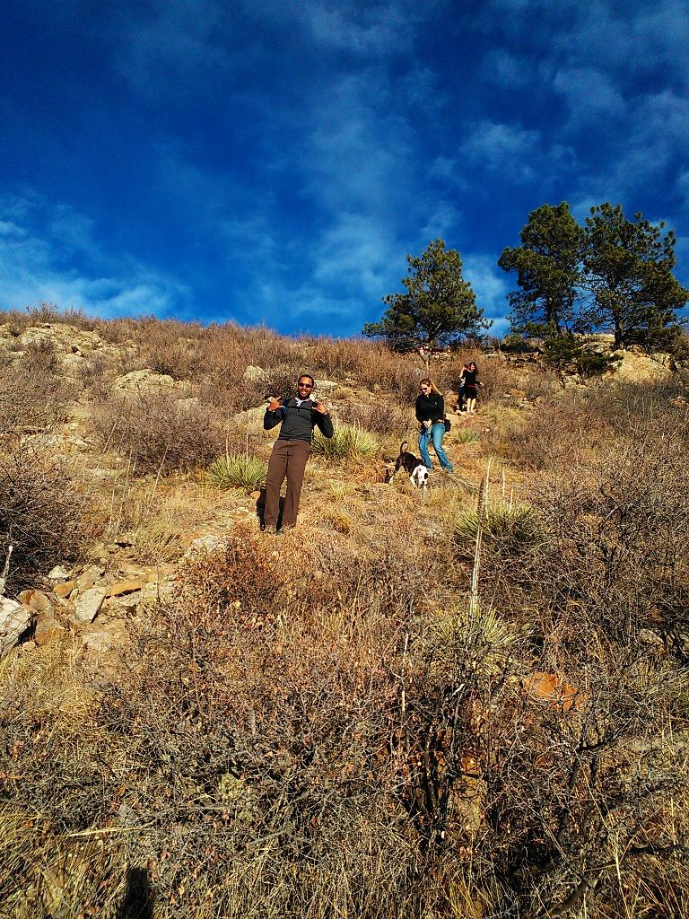 Our third hike from Reservoir Ridge. Here's Jason, Noelle, and Katherine heading down to the Horsetooth Reservoir. (November 18, 2012)