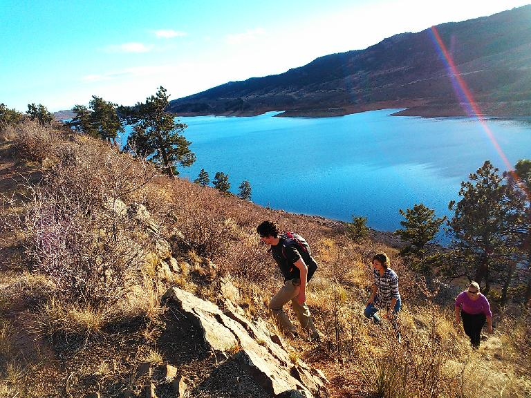 Hector, Dani and Tracy coming up from the Horsetooth Reservoir. (November 18, 2012)