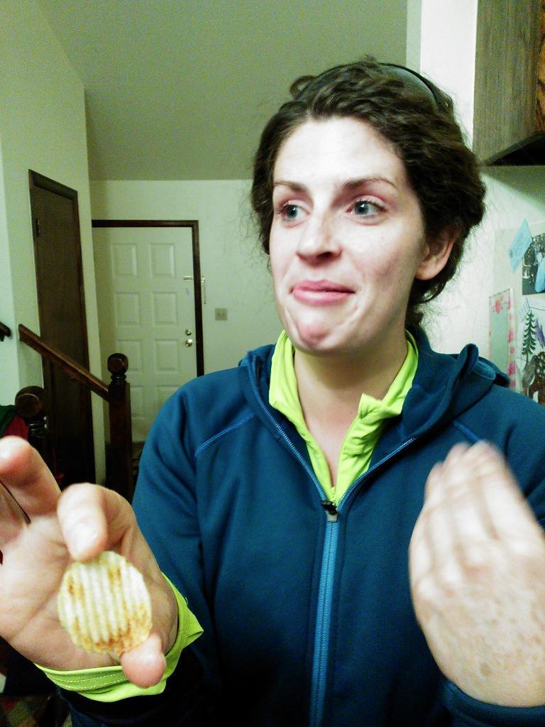 Ali found a happy potato chip. (November 18, 2012)