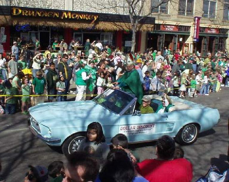 """Even the Dollar Store was on hand with their """"Saint Patrick"""" in a Mustang."""