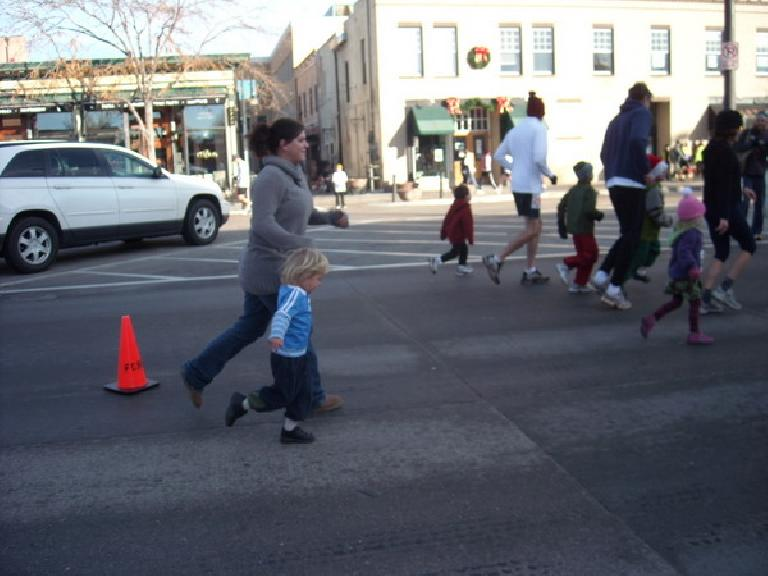 Dana and Alistair running in the free kids run, the Gobble Gobble.