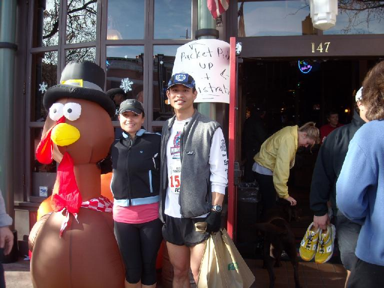Mr. Turkey, Raquel and I after the race.