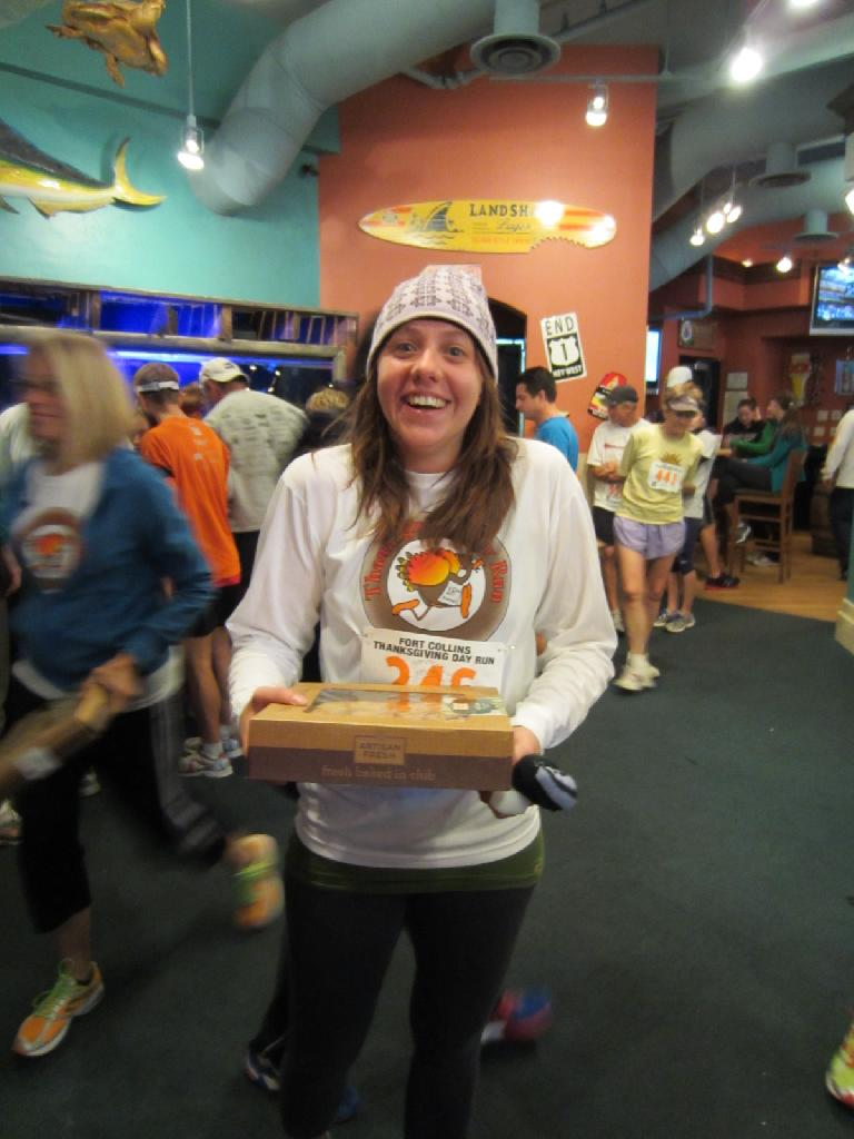 Kelly with one of the free extra apple pies.