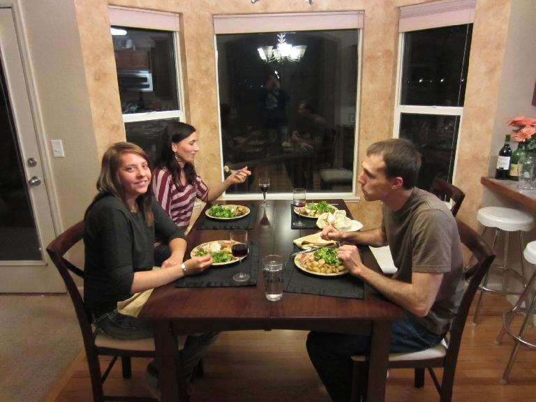 Thanksgiving dinner at my place with Kelly, Tori, and Ryan.  We got to eat some of the pumpkin pie from the race.