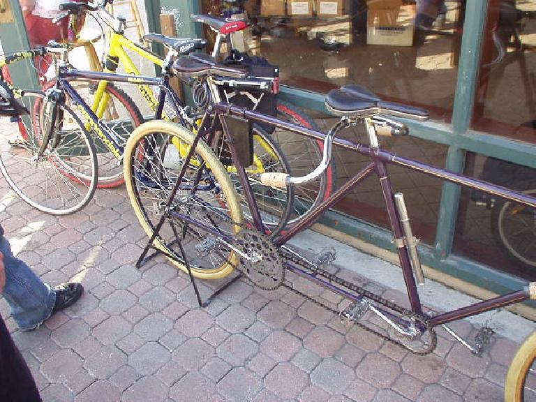 A vintage tandem with my mountain and commuter bikes behind it.