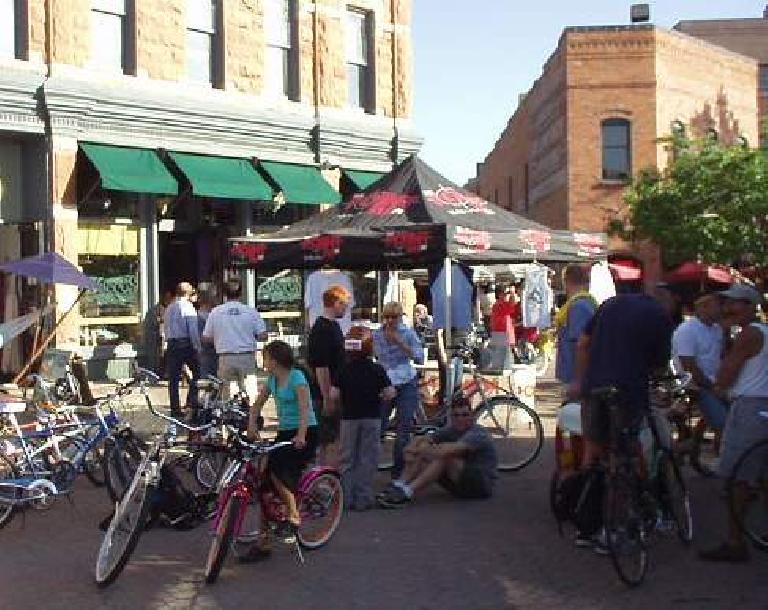 Gathering in Old Town Square for the Fort Collins Vintage Cruiser Ride.