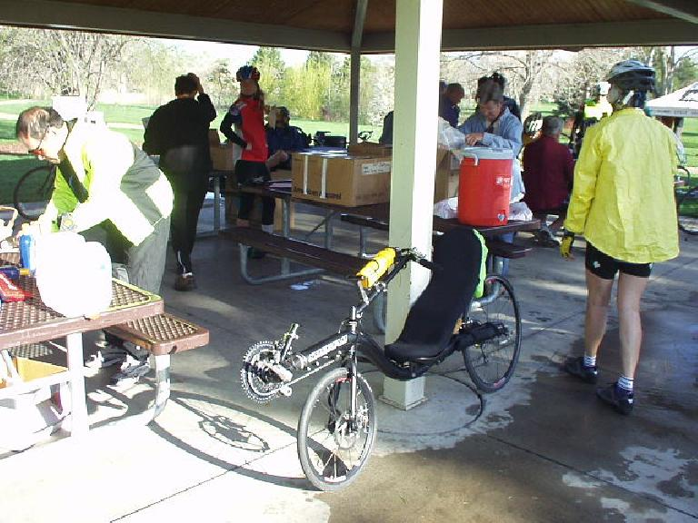 There were many recumbent bicycles present (including this carbon fiber one) which got me thinking about switching over to mine at some point of the ride.
