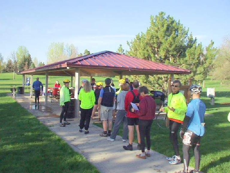 Lining up to register for the Fort Collins Cycling Club's annual Spring Warm-Up Ride.