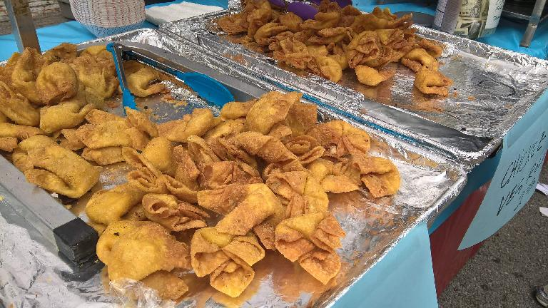 fried crab rangoons, chicken and vegetable rolls