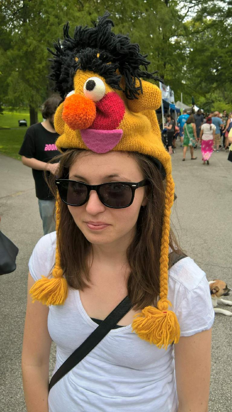 Maureen trying on a funny hat