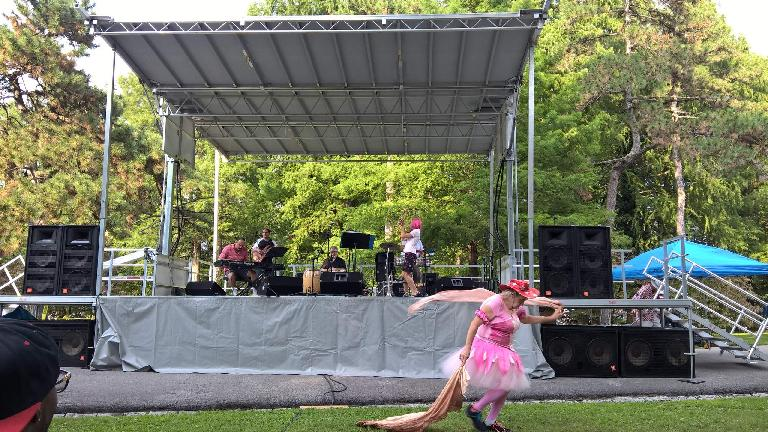woman wearing pink dress, Caribbean band, Tower Grove Park, Festival of Nations