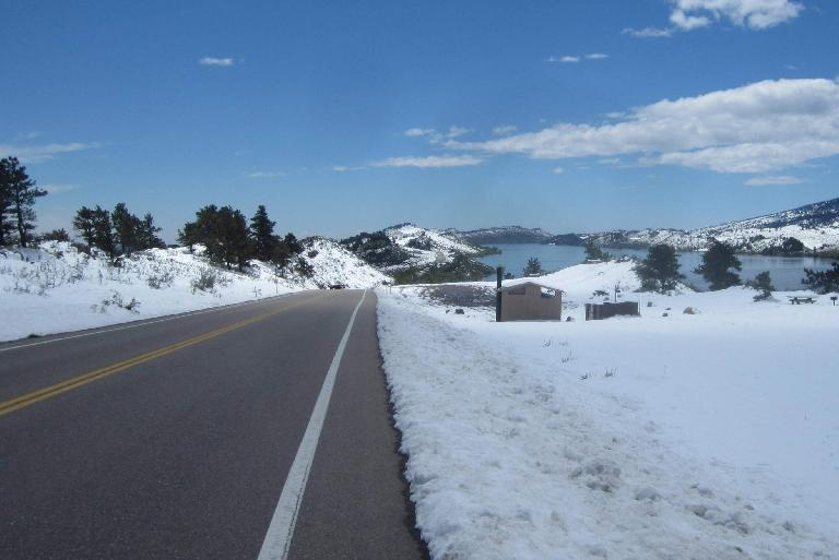 Snow in May at the Horsetooth Reservoir in Fort Collins.