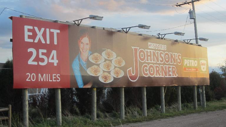 Billboard for Johnson's Corner's world-famous cinnamon rolls.