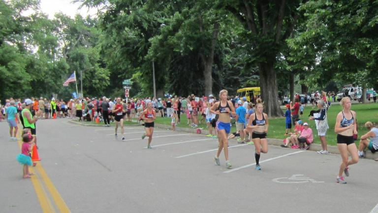 Some of the elite women on lap #3.