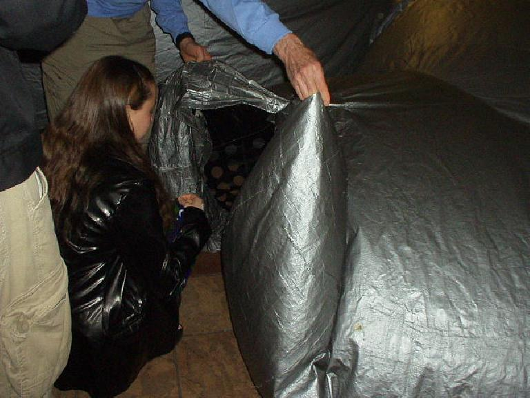 "The first event we went to was a Discovery Center Planetarium astronomy presentation.  This involved crawling through a big ""air bag."""