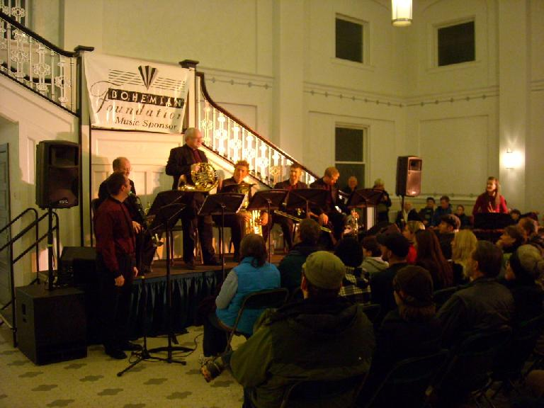 """The Exquisite Brass band doing a musical rendition of """"Peter & the Wolf."""""""
