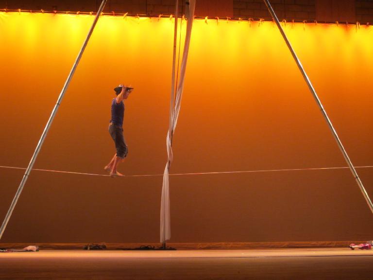"Sven Jorgensen walking a 3/8"" tight rope."